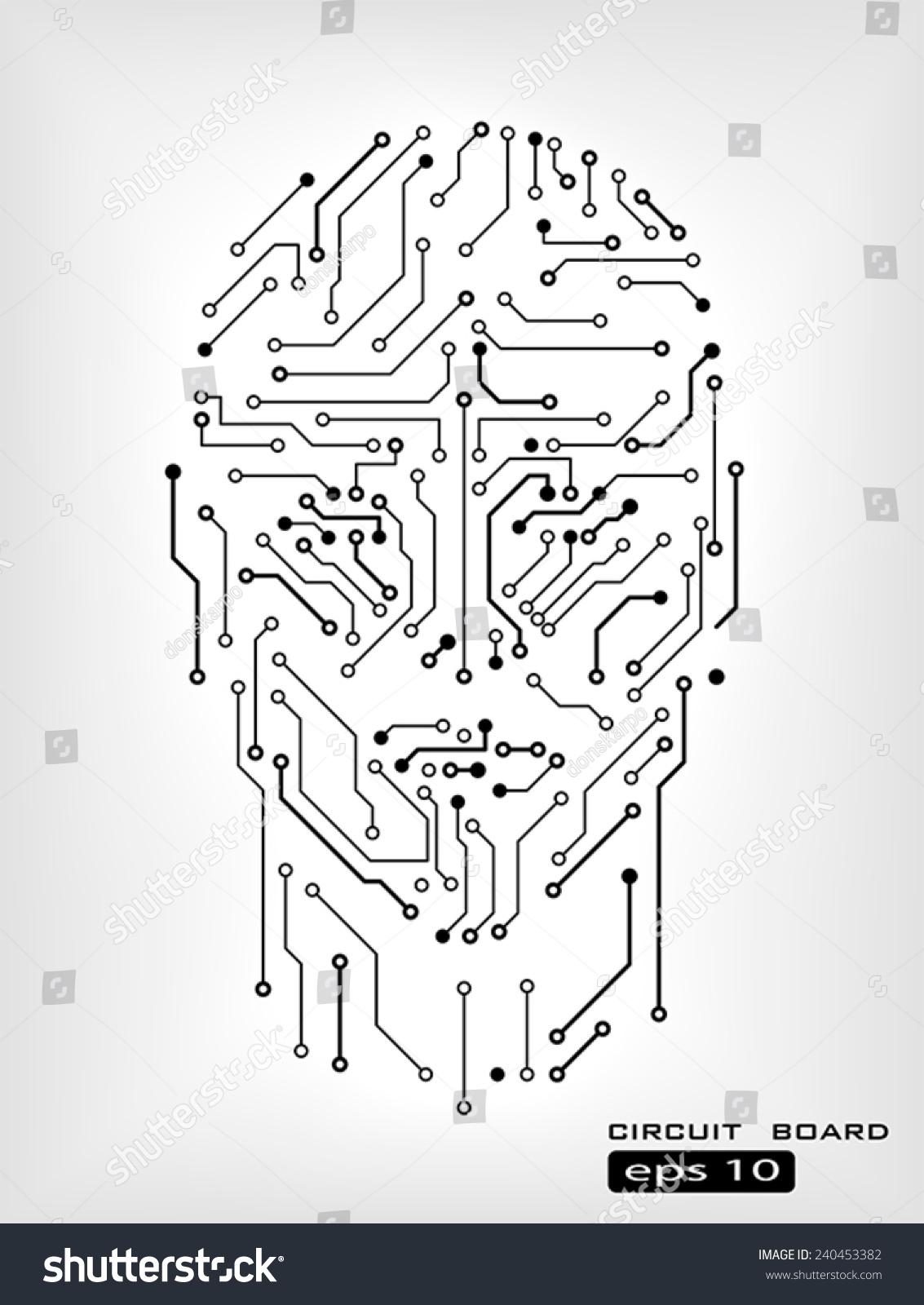 Digital Circuit Human Head Silhouette Vector Image vectorielle de ...