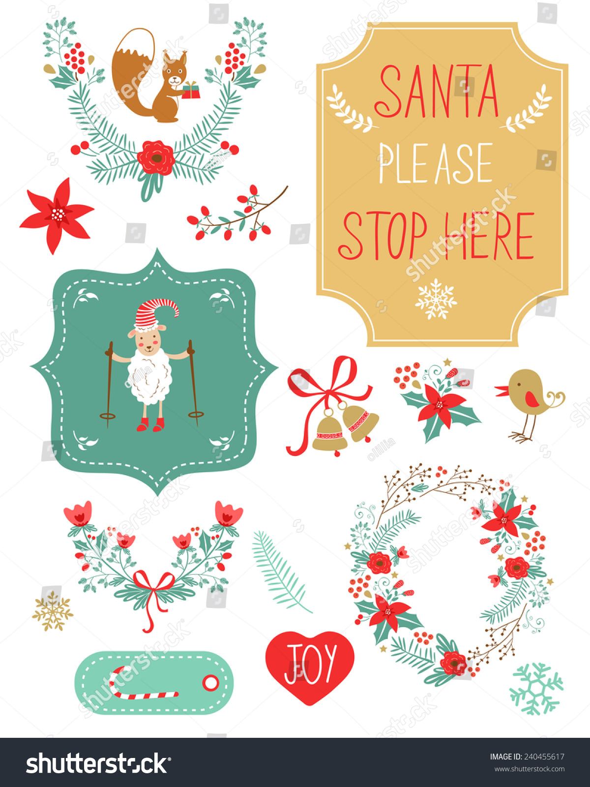 Cute Christmas Clipart Collection Vector Illustration Stock ...