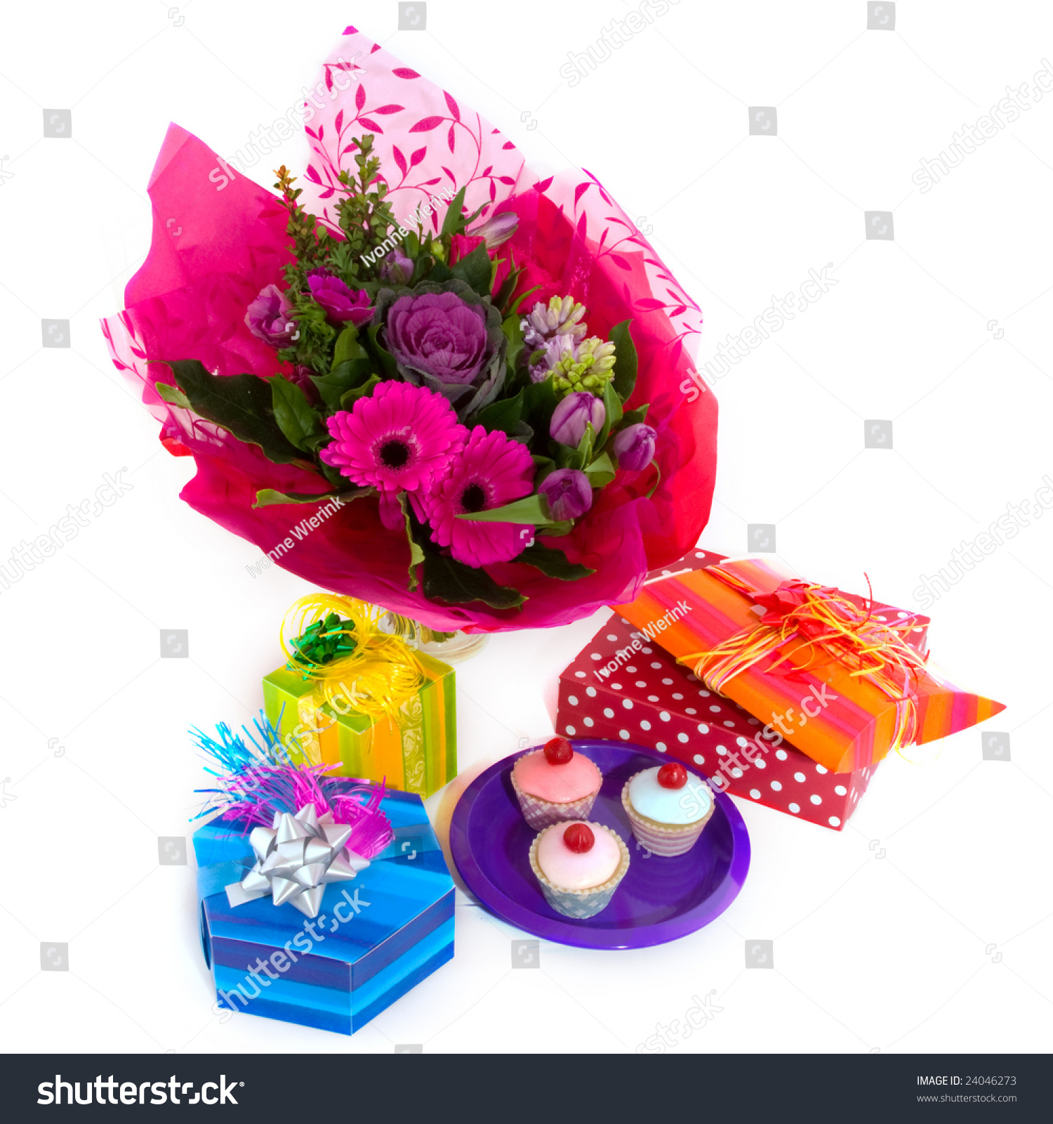 Happy birthday flowers surprises fancy cakes stock photo royalty happy birthday with flowers surprises and fancy cakes izmirmasajfo