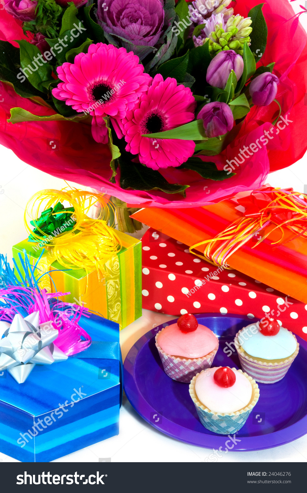 Happy birthday fancy cakes presents flowers stock photo 100 legal happy birthday with fancy cakes presents and flowers izmirmasajfo