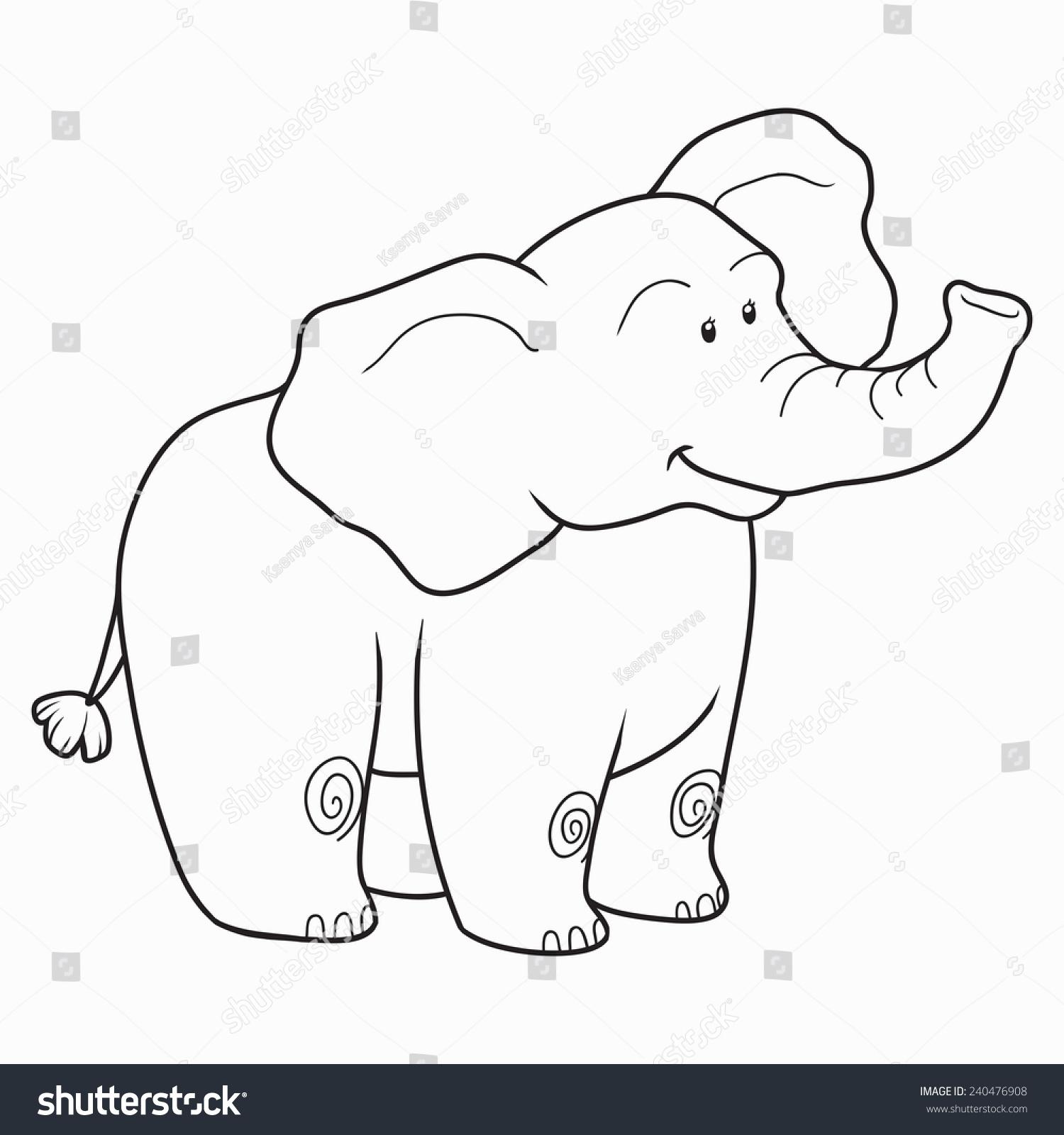Coloring Book Elephant Stock Vector Shutterstock