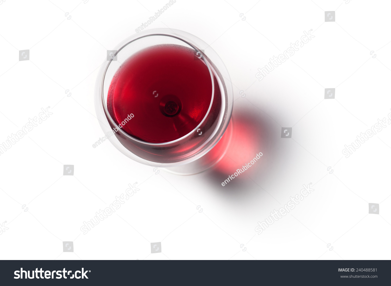 Glass of red wine with shadow.Top view  #240488581