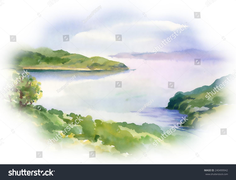 sandra model pissing Watercolor river nature landscape on white background vector illustration