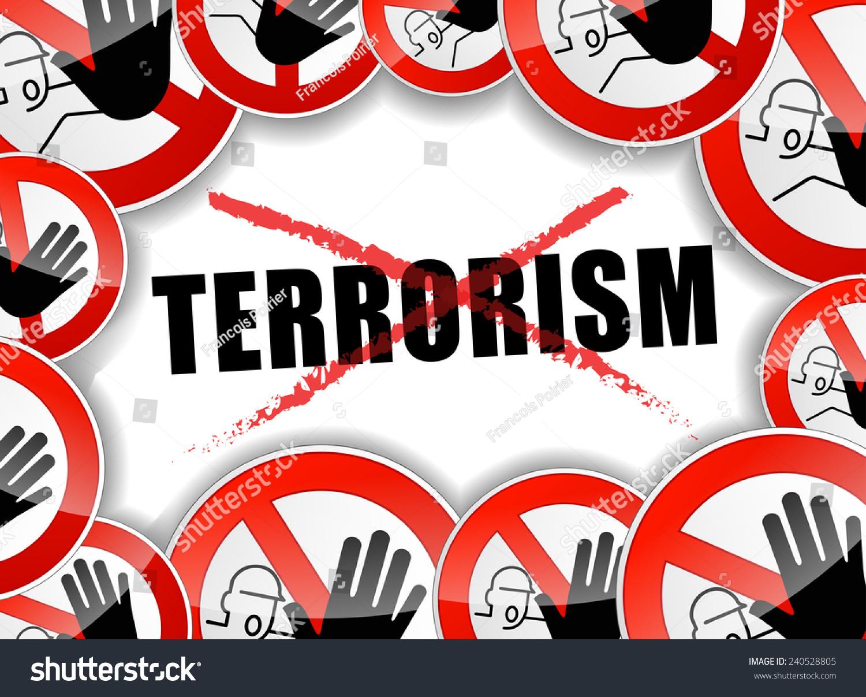 Illustration No Terrorism Concept Background Design Stock ... No Terrorism