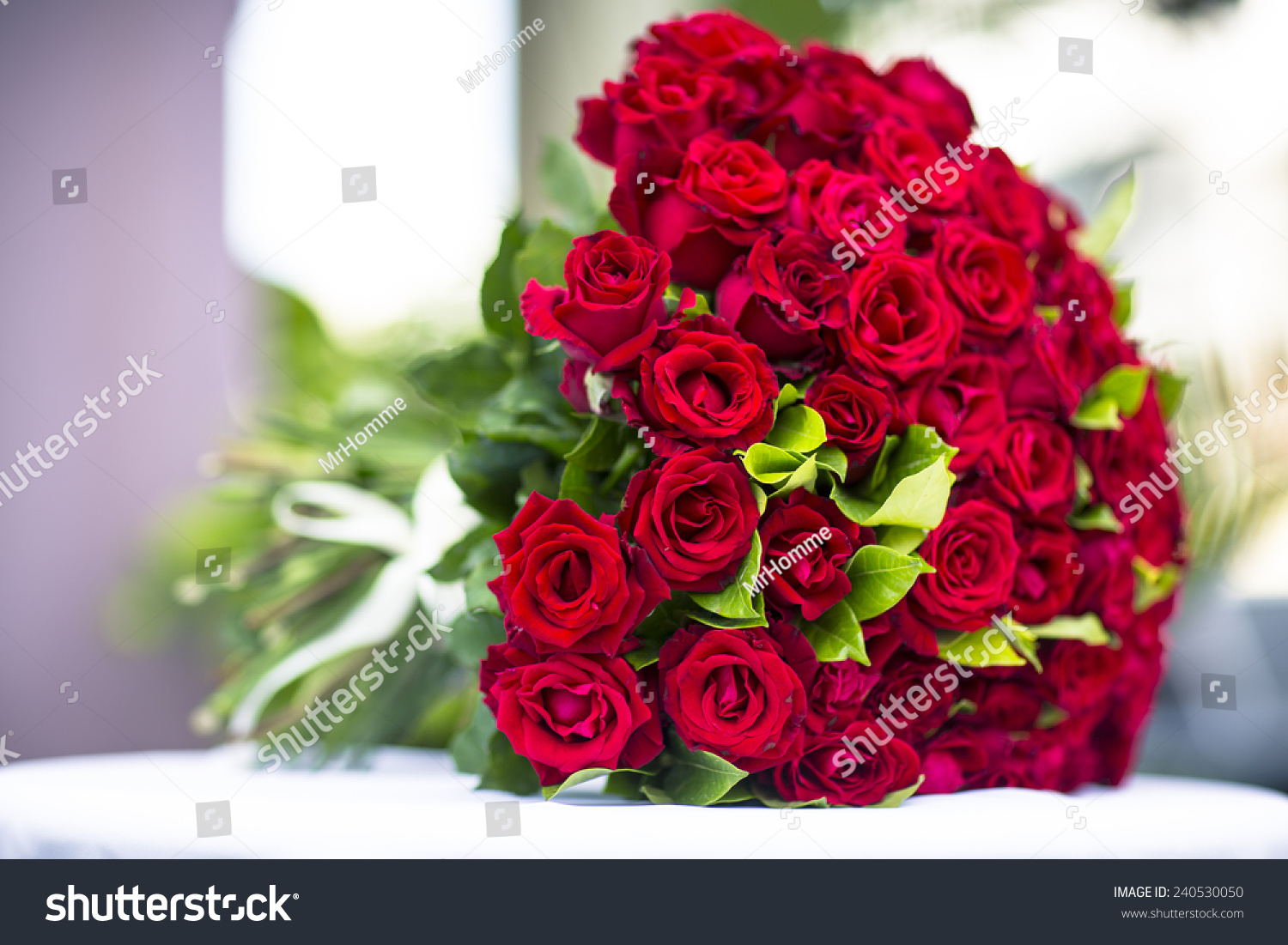 Bouquet Flowers Bouquet Hundred Red Roses Stock Photo (Royalty Free ...
