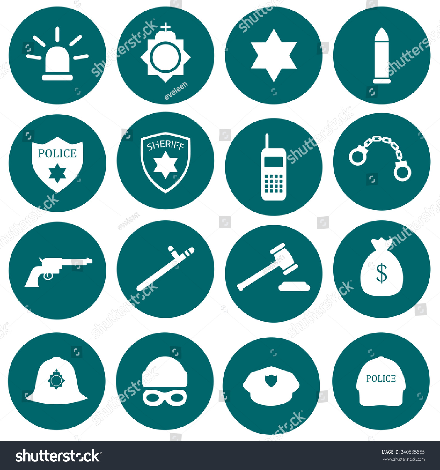 Vector Security Icon Police Law Crime Stock Vector ...