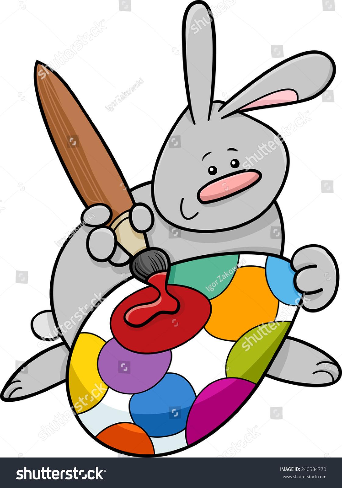 cartoon illustration cute easter bunny painting stock illustration