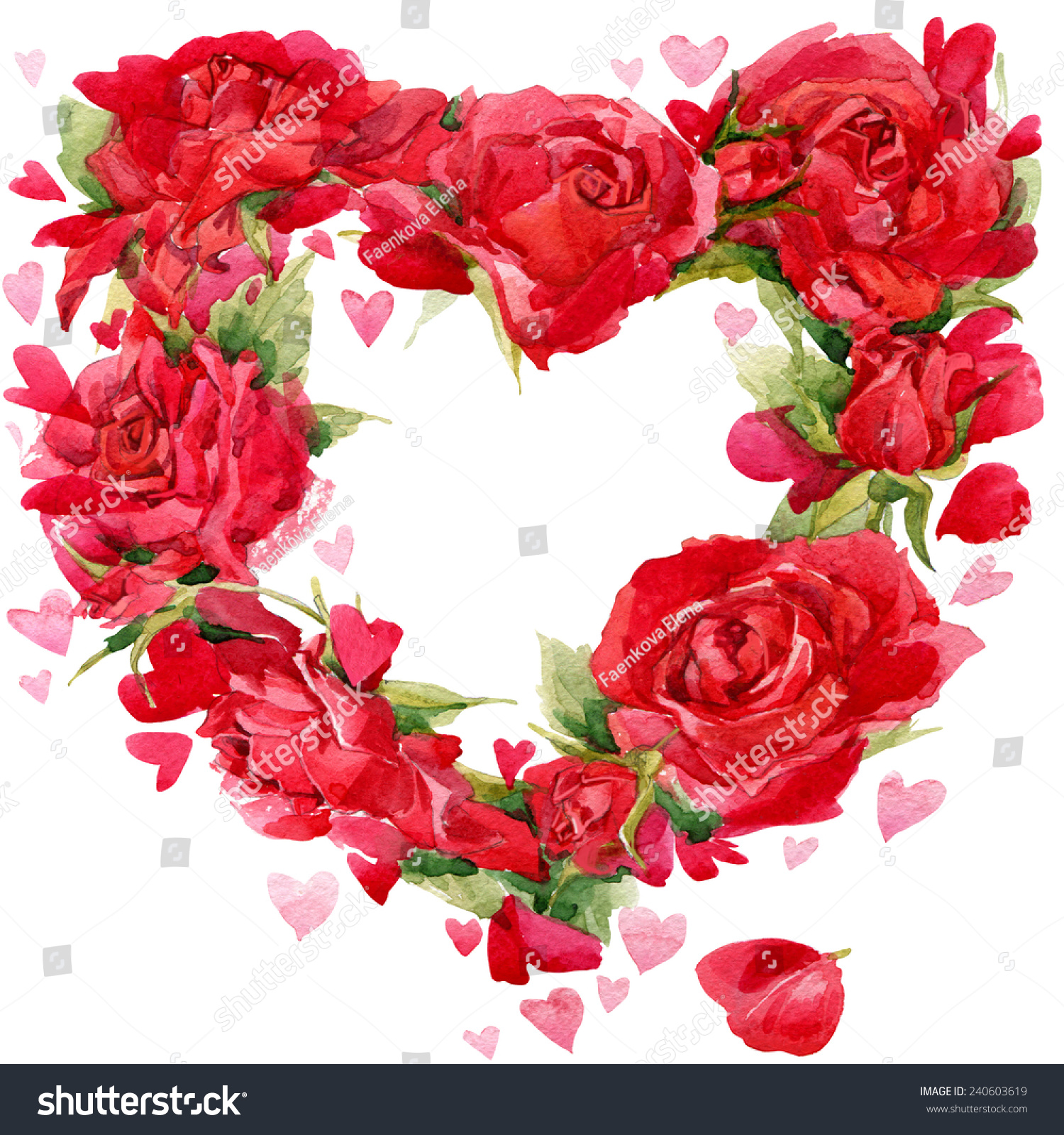 Red Heart Roses Flower Watercolor Background Stock Illustration ...