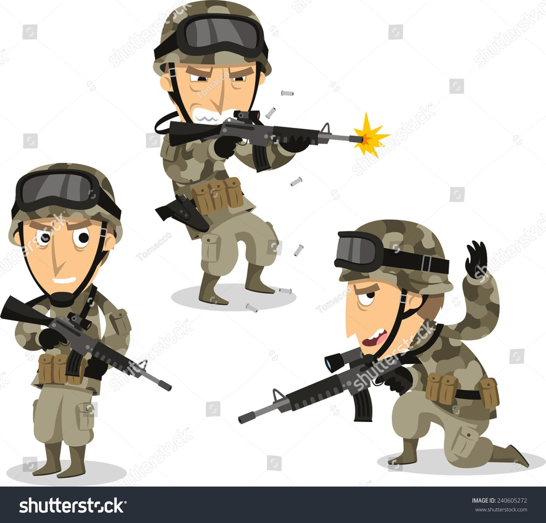 Soldier Machine Gun Helmet War Uniform Stock Vector ... Soldier With Gun Cartoon