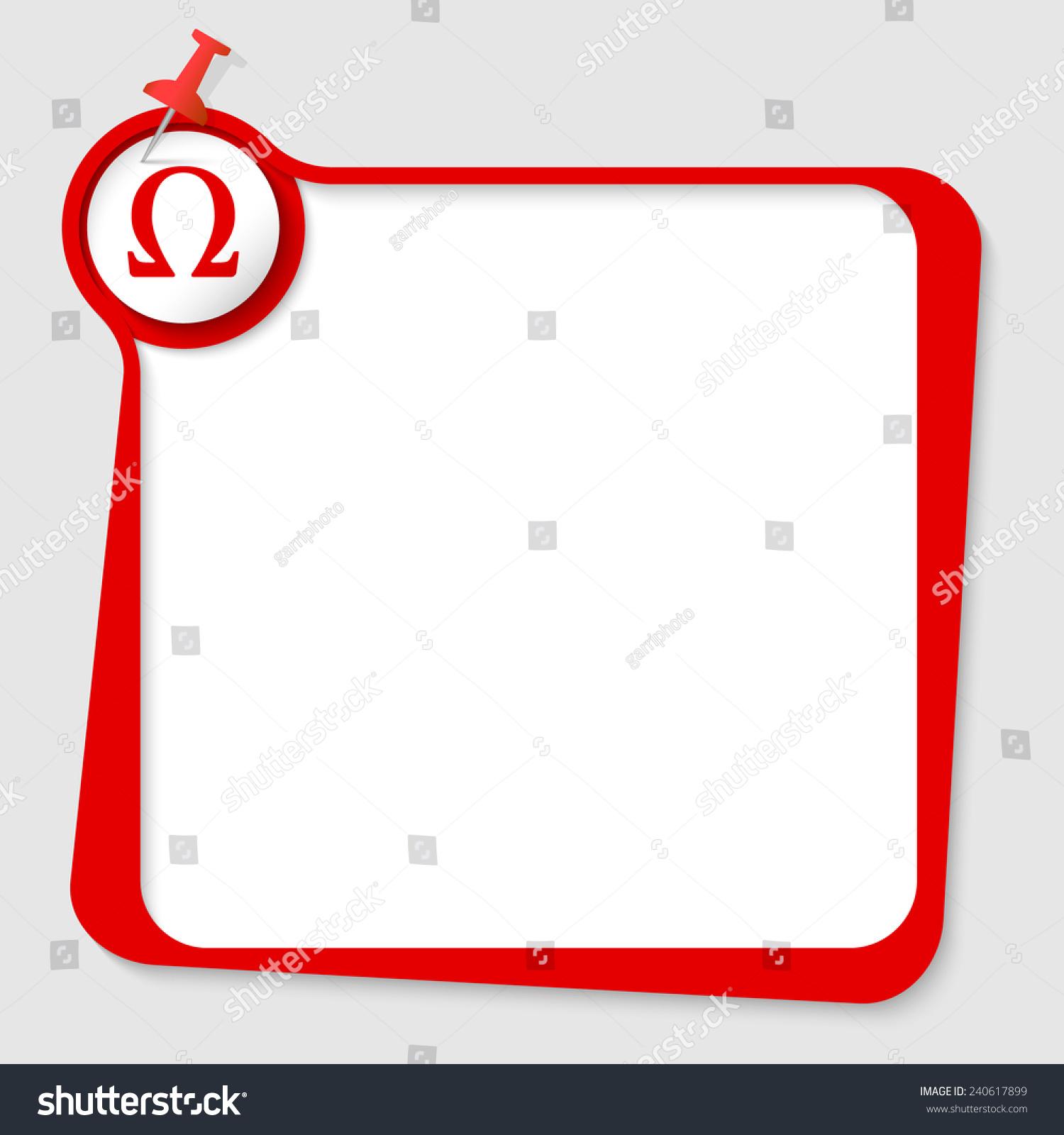 Text box pushpin omega symbol stock vector 240617899 shutterstock text box with pushpin and omega symbol buycottarizona