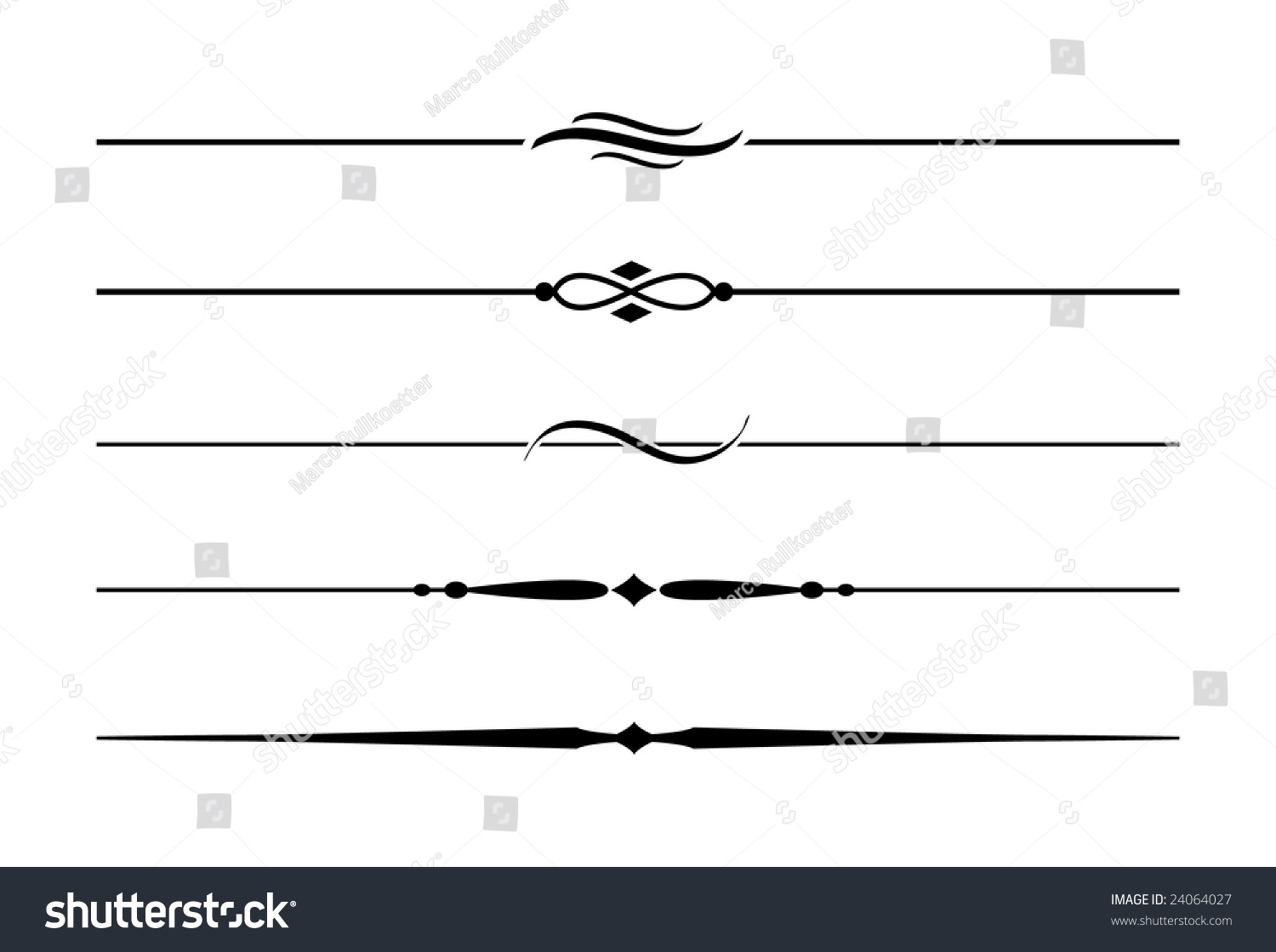 Dividers Accents 5 Five Decorative Lines Stock Vector ...