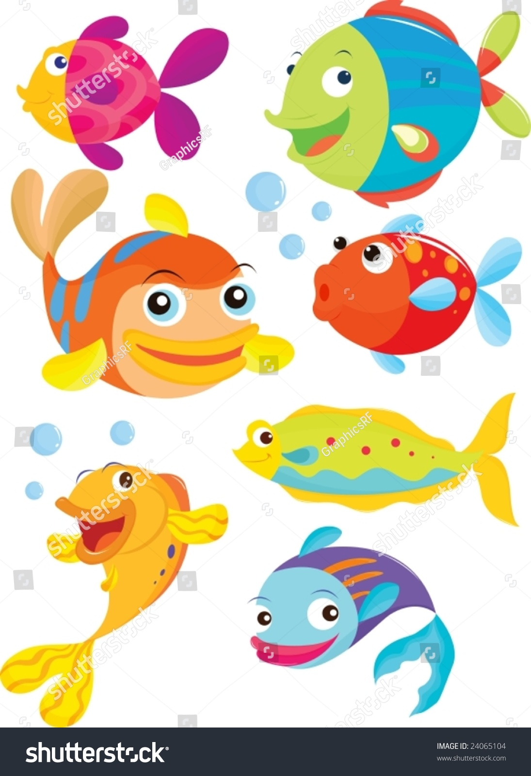 Seven fish swimming blowing bubbles stock vector 24065104 for What are the seven fishes