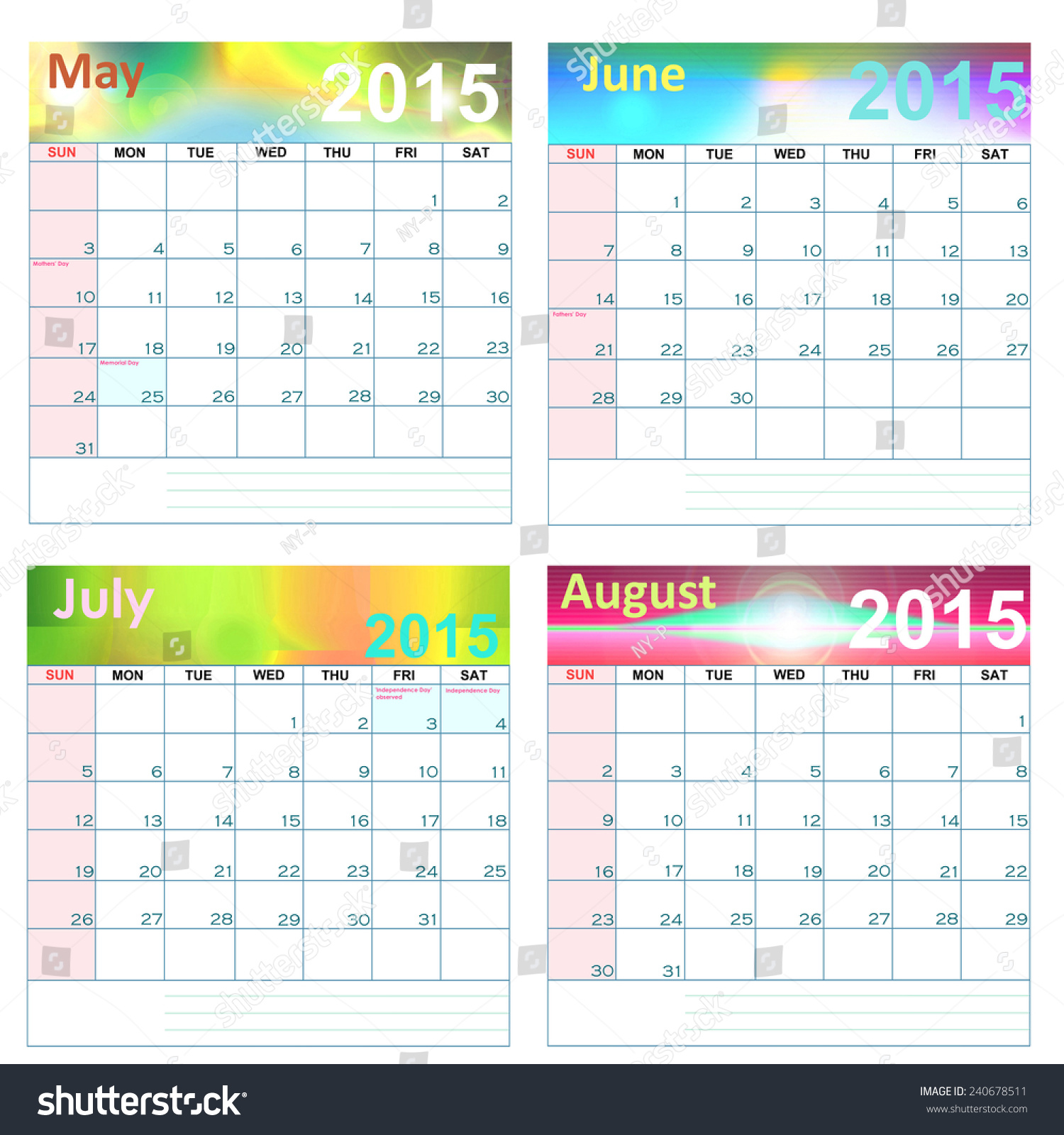 Calendar Monthly Observances : Calendar holidays and observances united states
