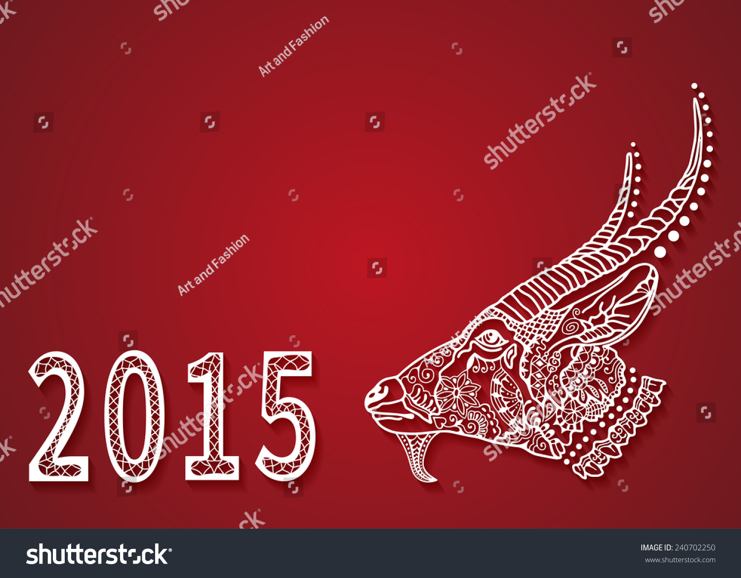 2015 Chinese New Year Of The Goat White Silhouette With Shadow Isolated On Red Background
