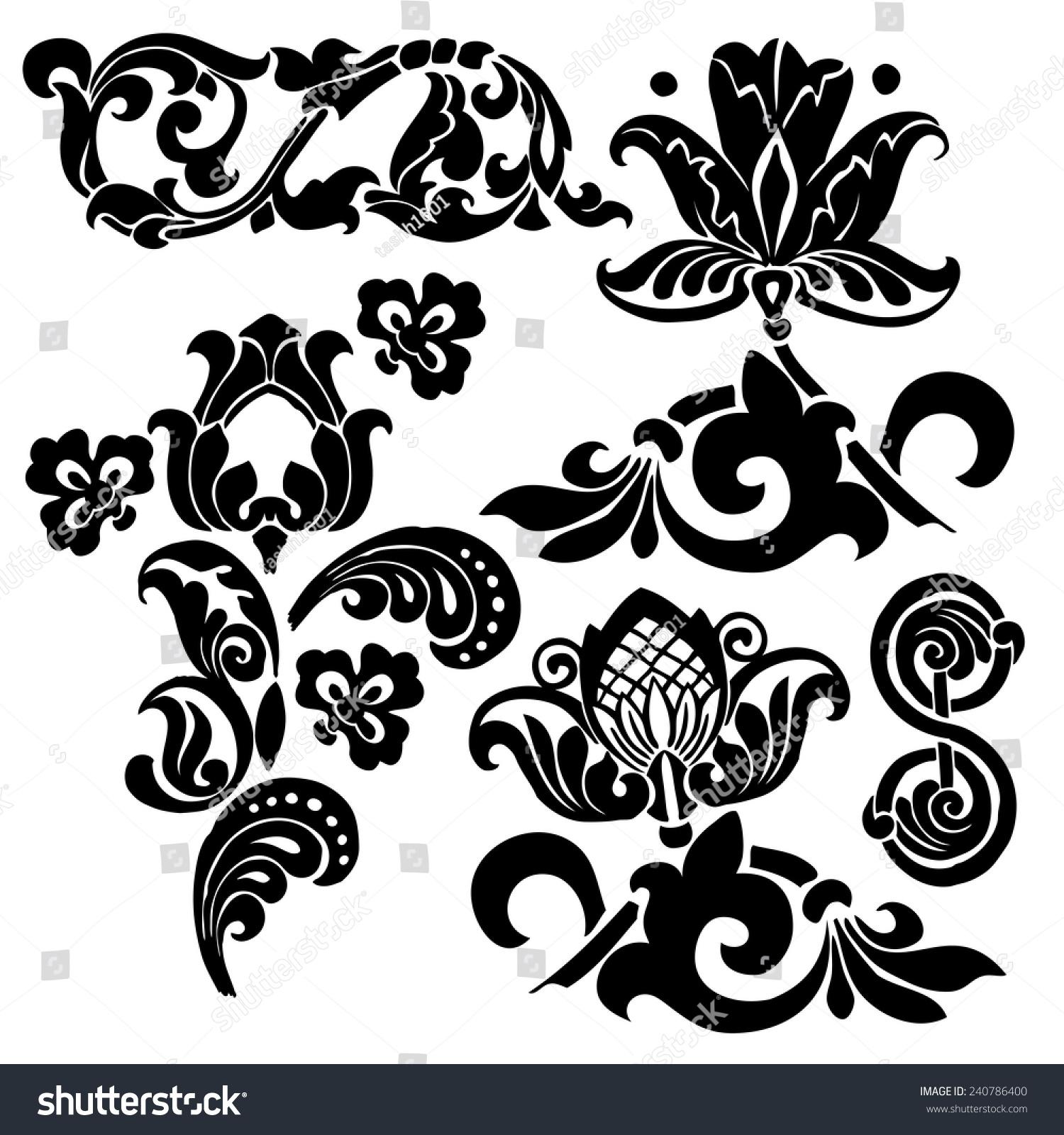 Art deco ornaments - Ornament In Art Nouveau Style Set Of Elements