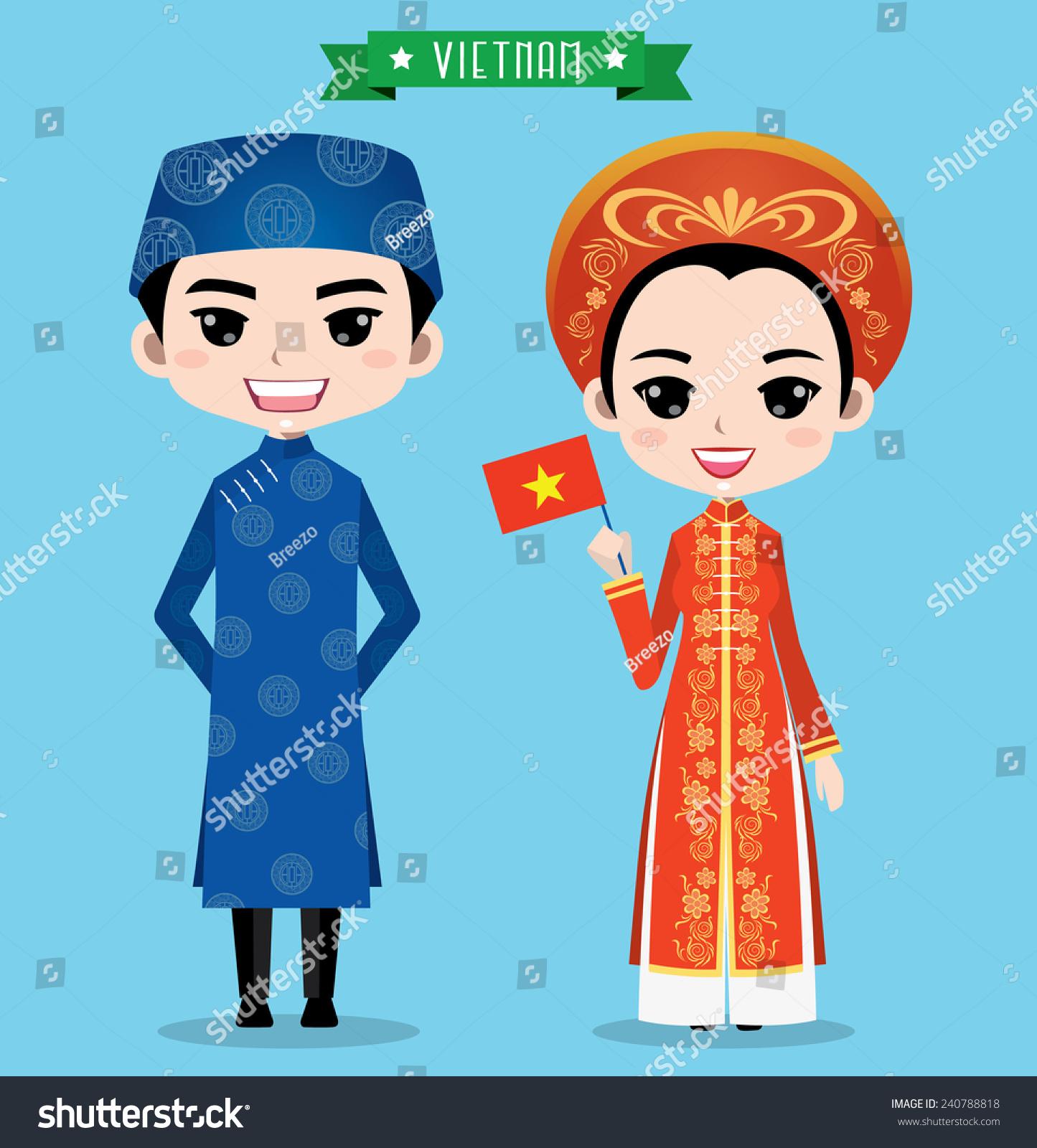 Vietnam Boy Girl Traditional Costume Stock Vector 240788818