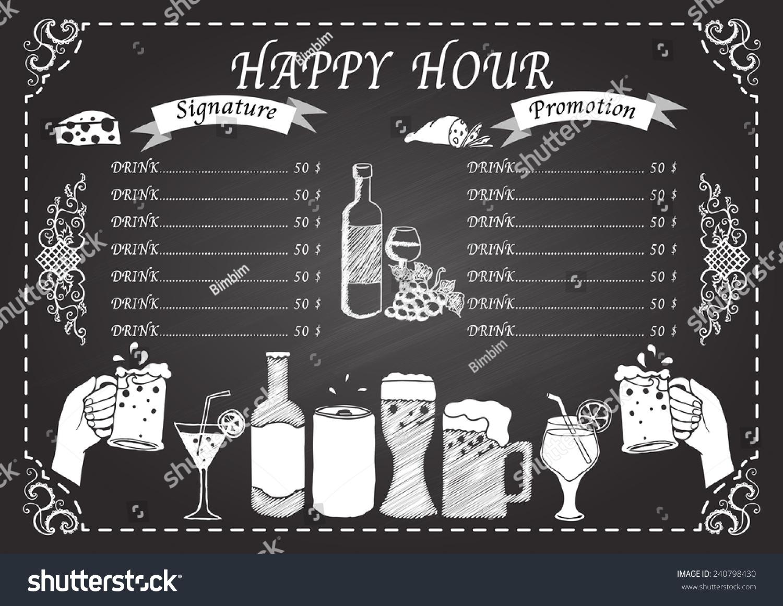 Happy Hour Drink On Chalkboard Design Template