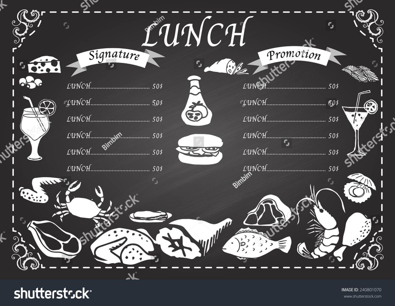 lunch menu on chalkboard design template stock vector royalty free