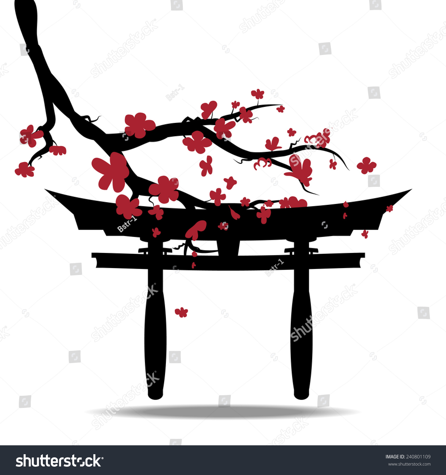 Vector Composition Spring Blossoming Japan Cherry Stock ...