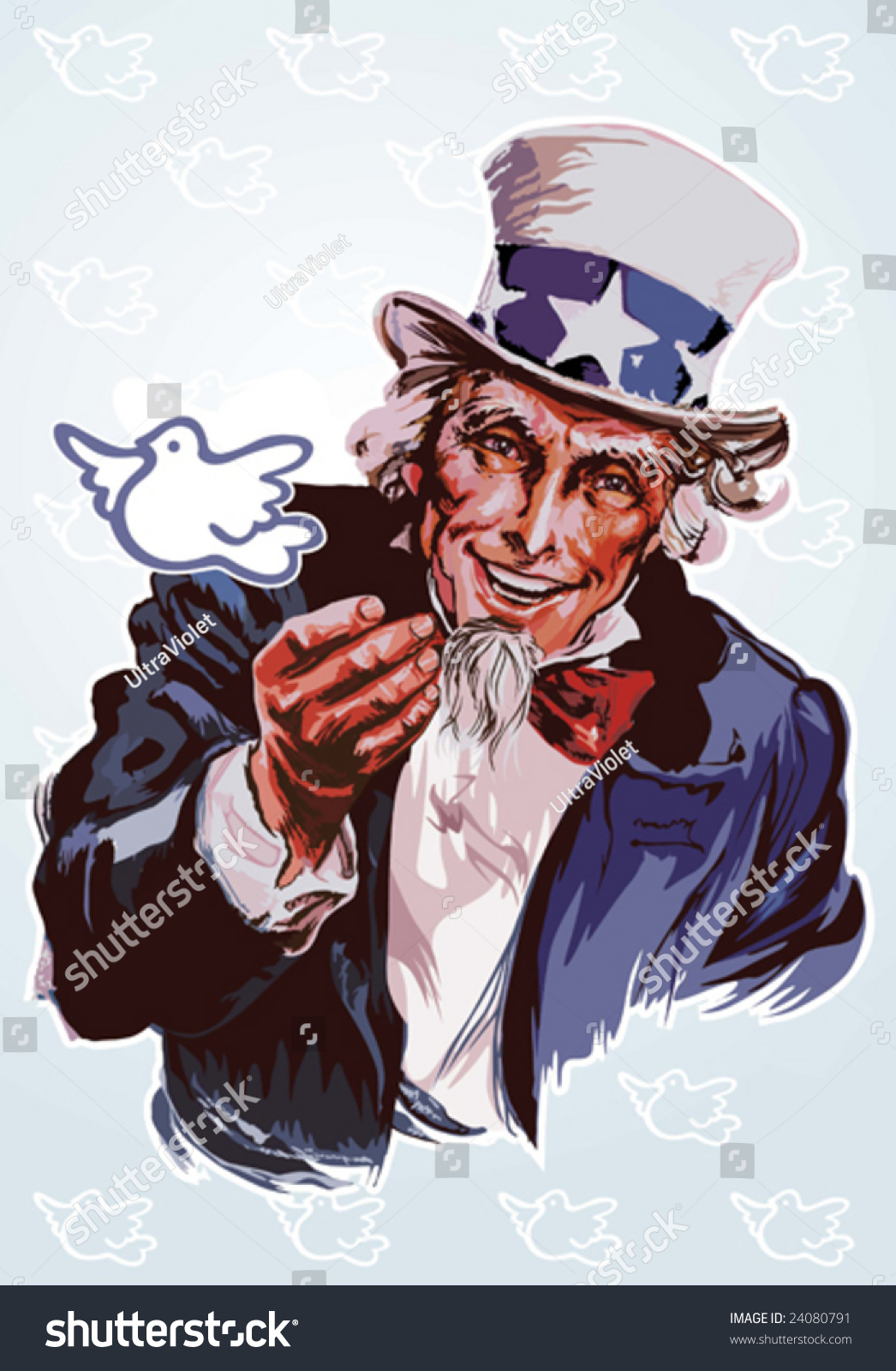 Peaceful Uncle Sam Stock Vector 24080791 - Shutterstock