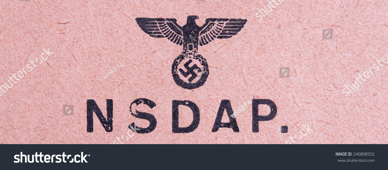 Germany circa 1944 nsdap real vintage stock photo 240808552 germany circa 1944 nsdap real vintage print from world war ii with symbol of buycottarizona Gallery