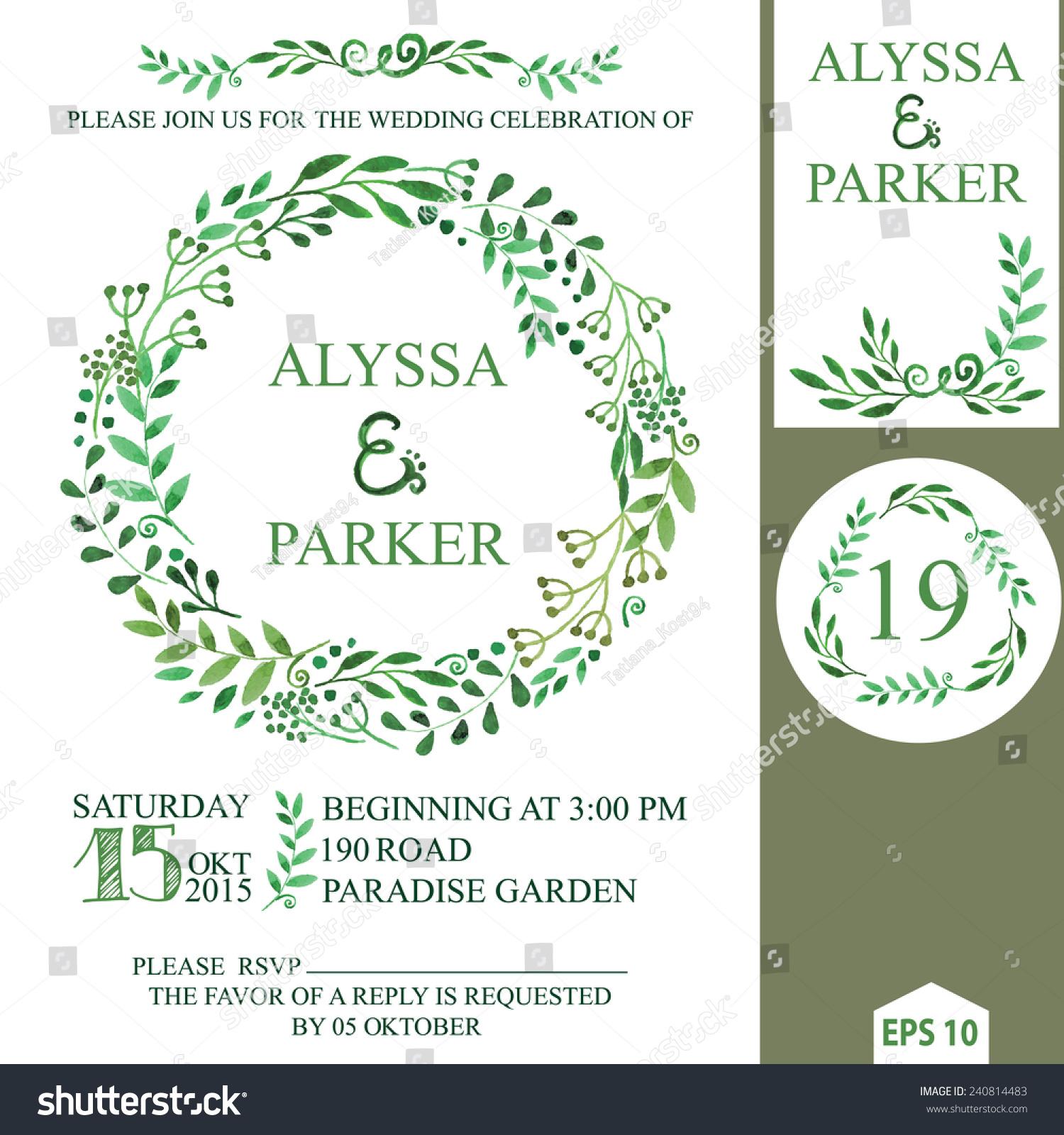 retro wedding invitation design template watercolor stock vector 240814483 shutterstock. Black Bedroom Furniture Sets. Home Design Ideas