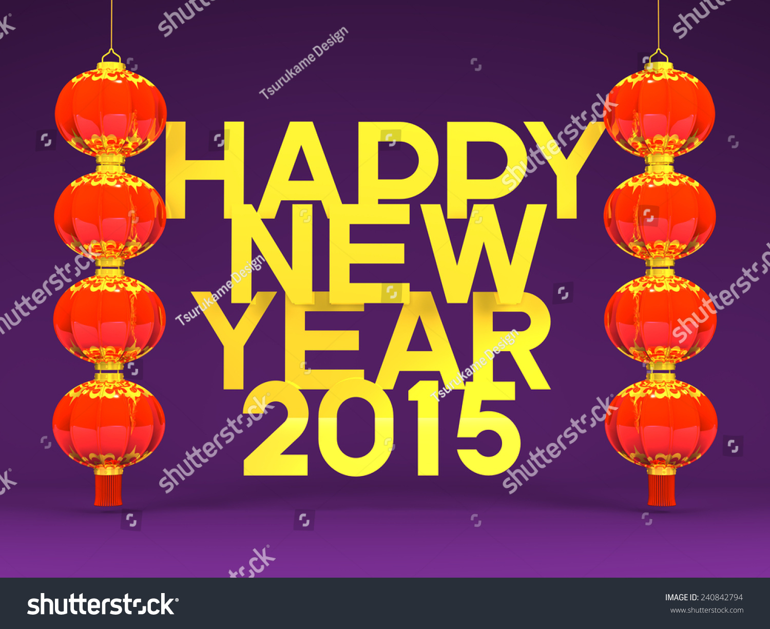 Lunar new years lantans 2015 greeting stock illustration 240842794 lunar new years lantans 2015 greeting on purple 3d render illustration for new years kristyandbryce Gallery