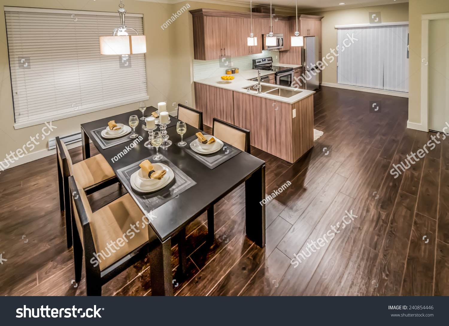 Kitchen View From Above : View above luxury living suite dining stock photo