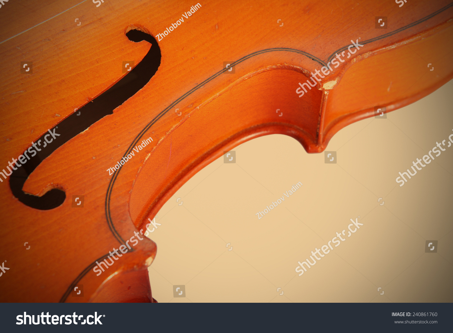 Fragment Old Violin Music Instrument Graceful Stock Photo