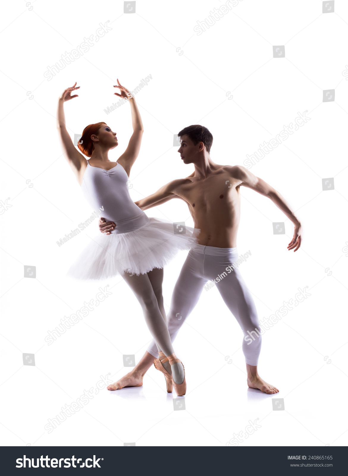 Couple Of Ballet Dancers On A Light Background Stock Photo - Image ...