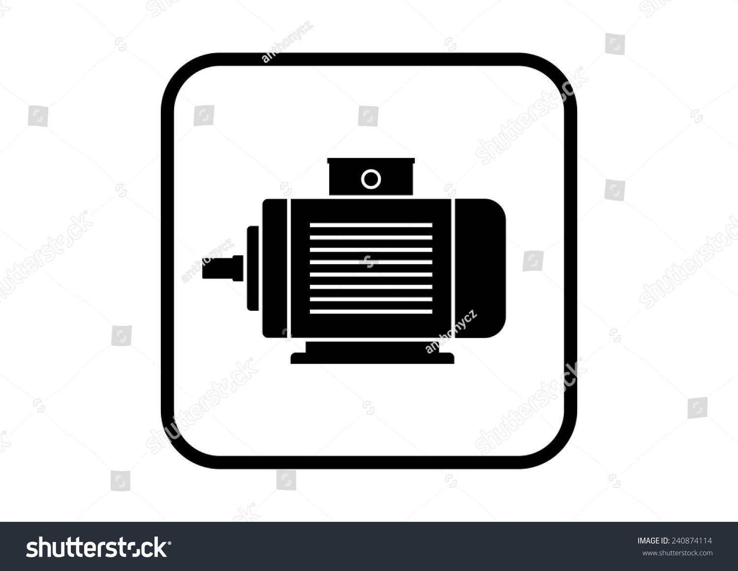 Electric Motor Icon On White Background Stock Vector Royalty Free