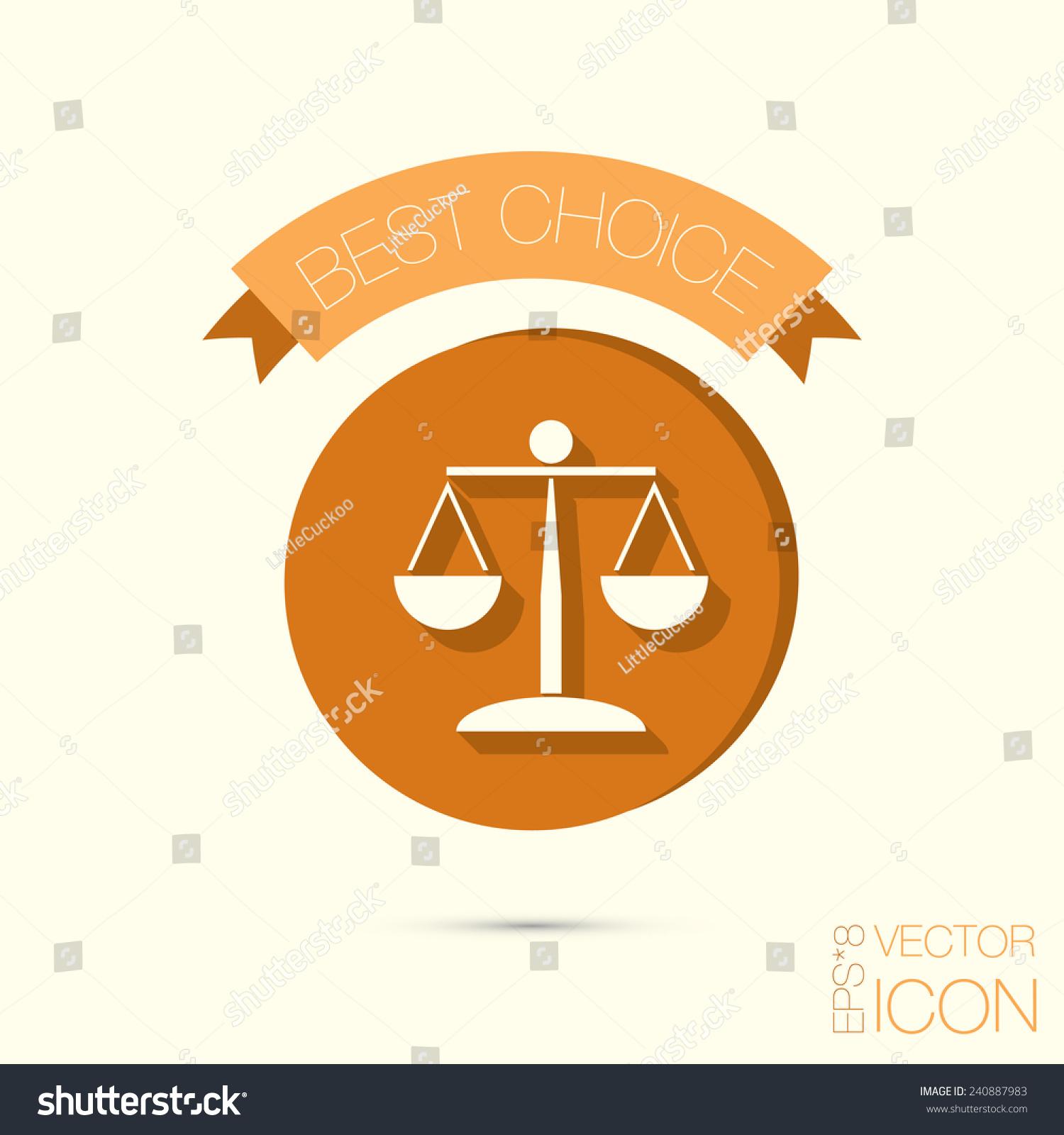 Icon Scales Justice Symbol Justice Stock Vector Royalty Free