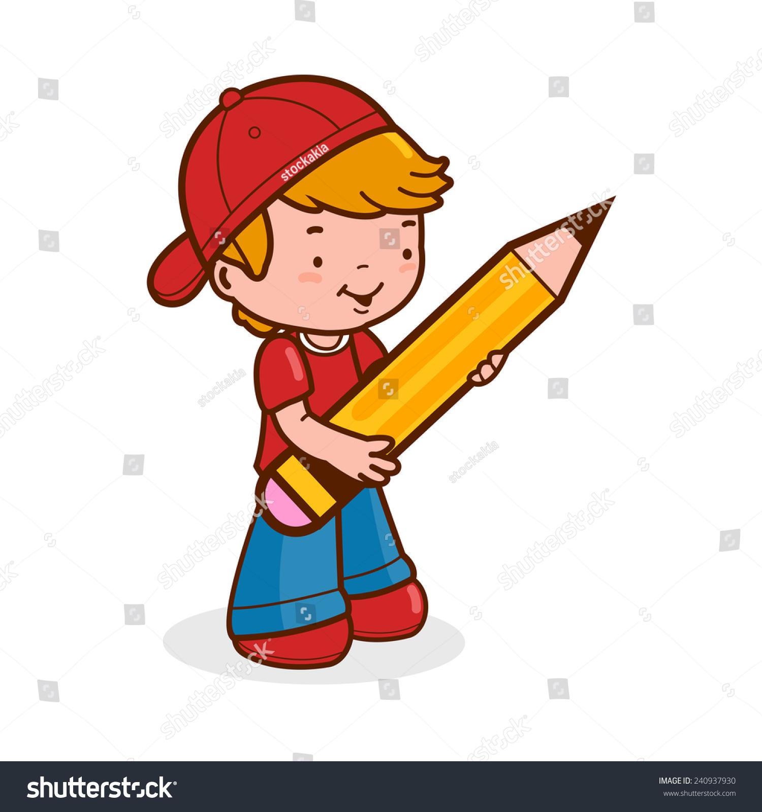 Boy student holding a big pencil