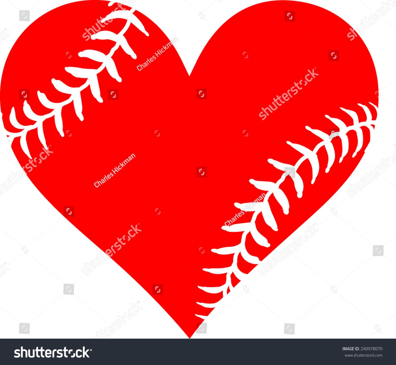 Red Heart Baseball Laces Love Baseball Stock Vector Royalty Free 240978070