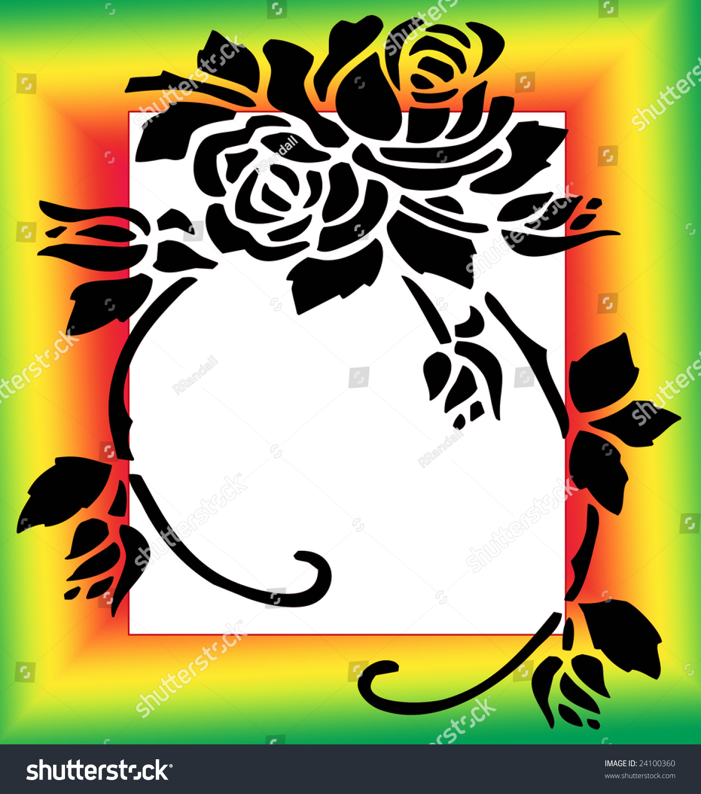 abstract black silhouette rose flower clip stock illustration Yellow Softball Border Clip Art abstract black silhouette rose flower clip art stencil design on a gradient bright green yellow and red frame border illustration