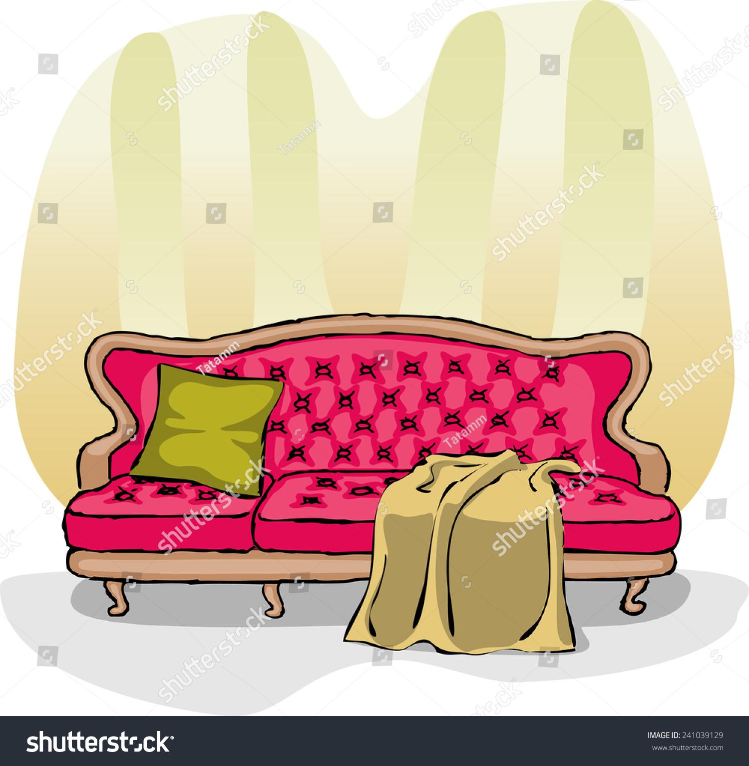 Crimson Sofa Blanket Pillow Striped Wallpaper Stock Vector (2018 ...