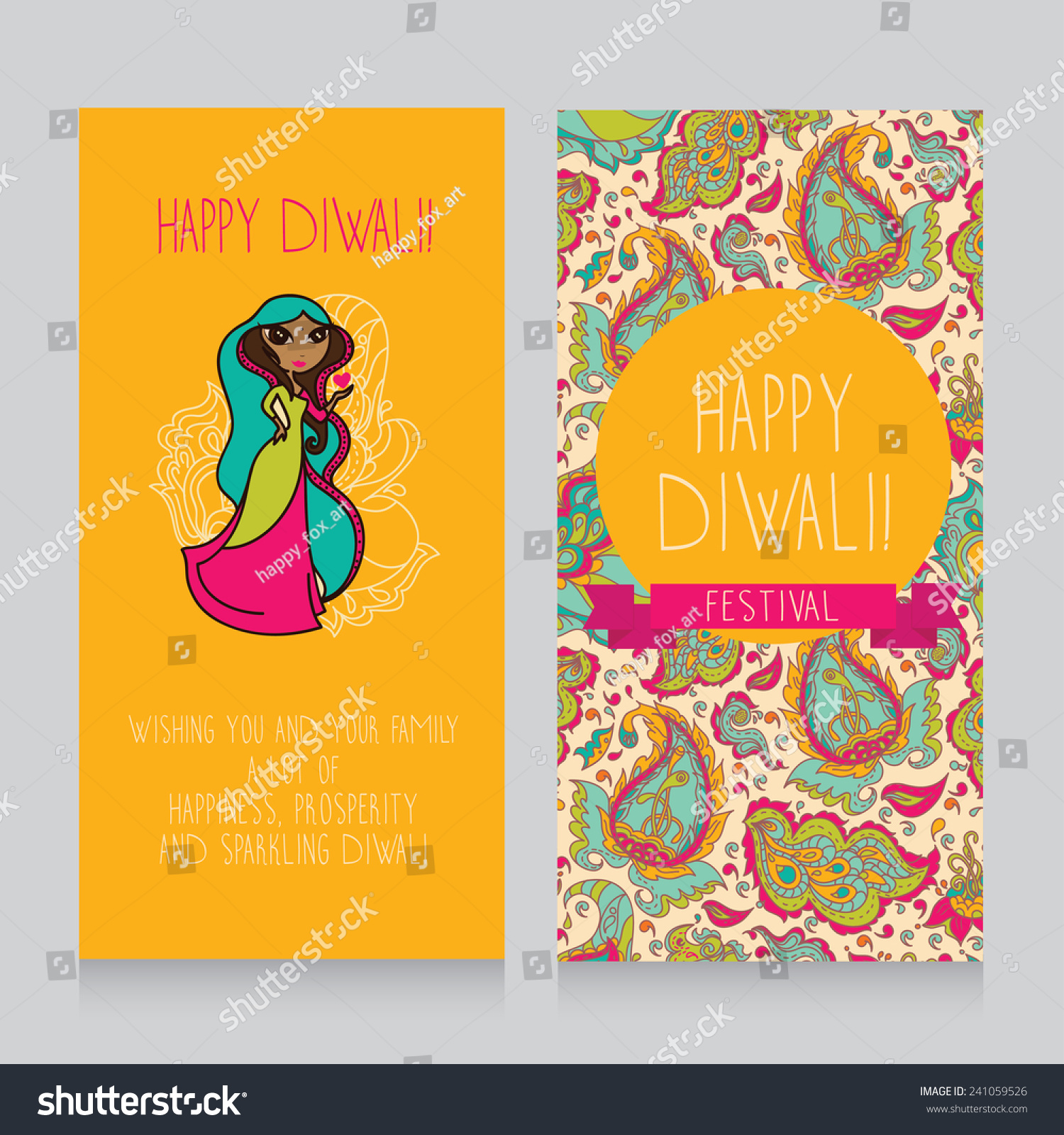 Diwali Greeting Cards Template Holiday Design Stock Vector Royalty