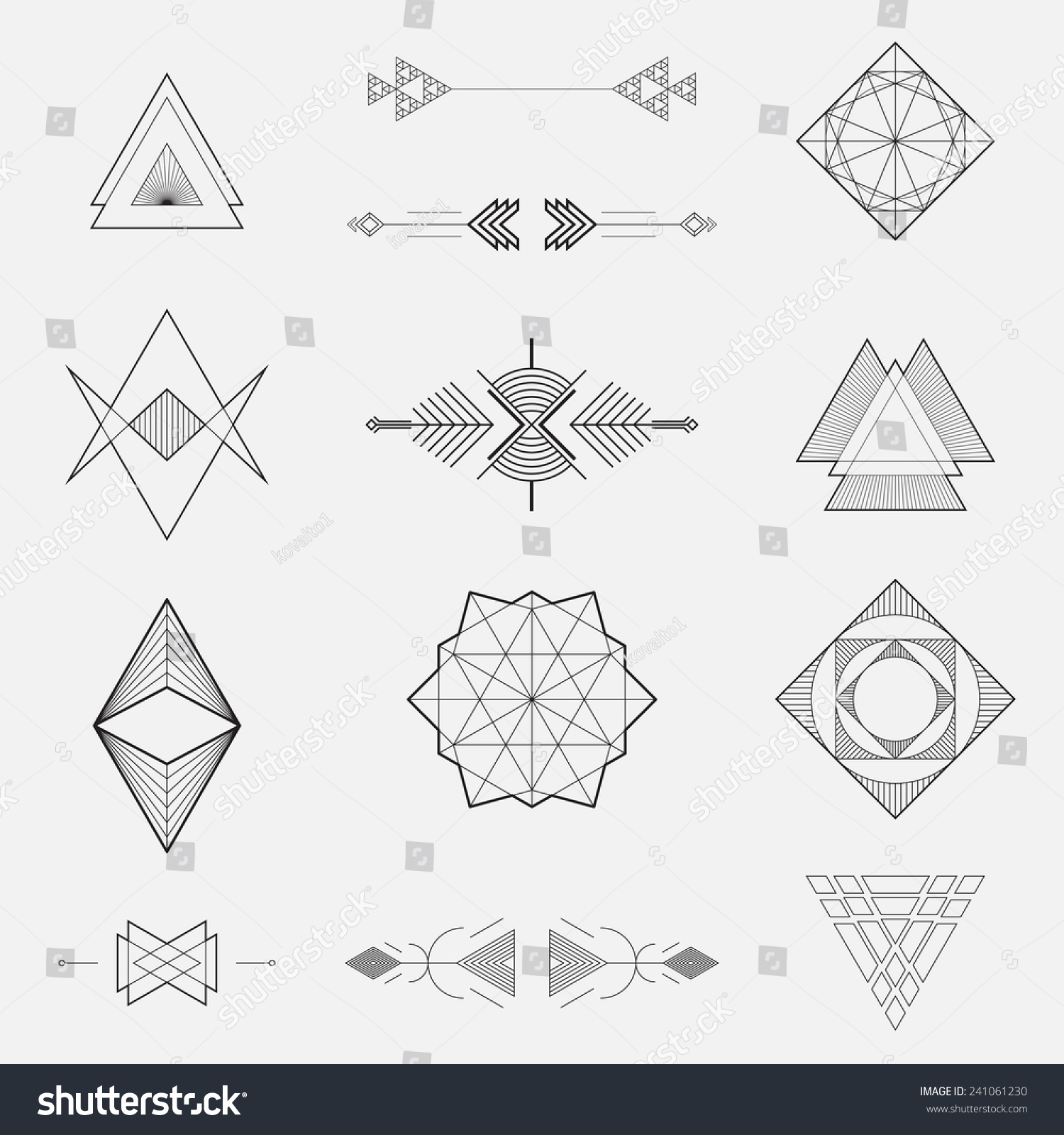 Basic Line Designs : Set geometric shapes triangles line design stock vector
