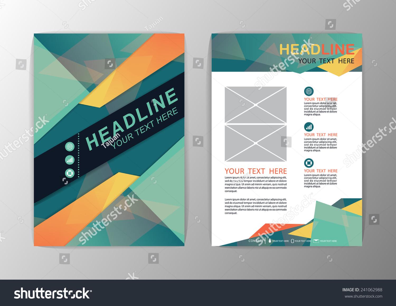 Abstract Green Orange Triangle Design Brochure Stock Vector - Mini brochure template