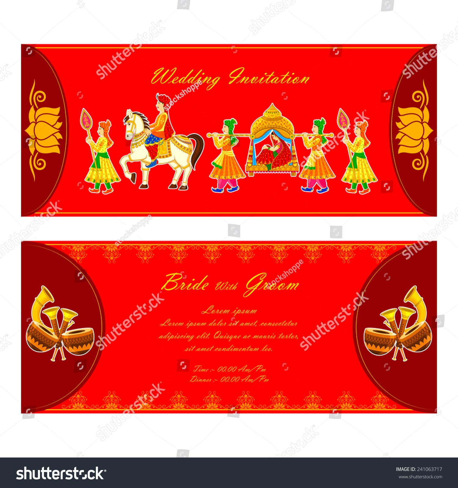 Vector Illustration Indian Wedding Invitation Card Stock Vector ...