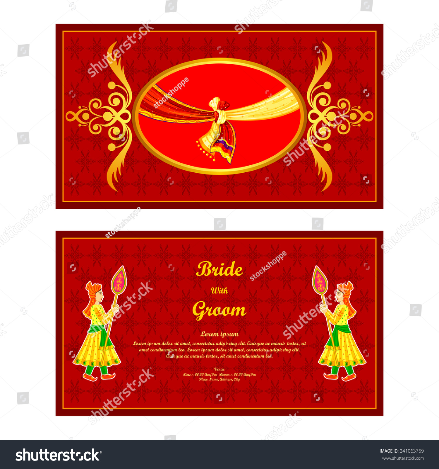 Vector Illustration Indian Wedding Invitation Card Stock Vector ...