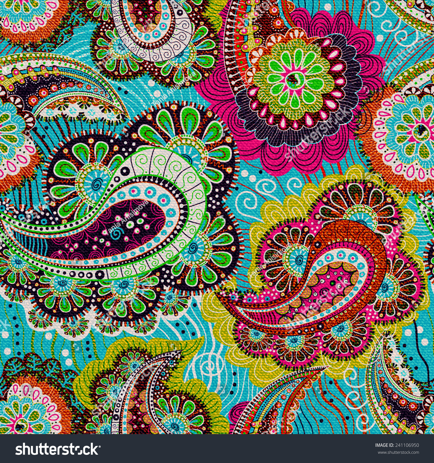 Colorful Paisley Seamless Pattern Blue Pink Stock Vector