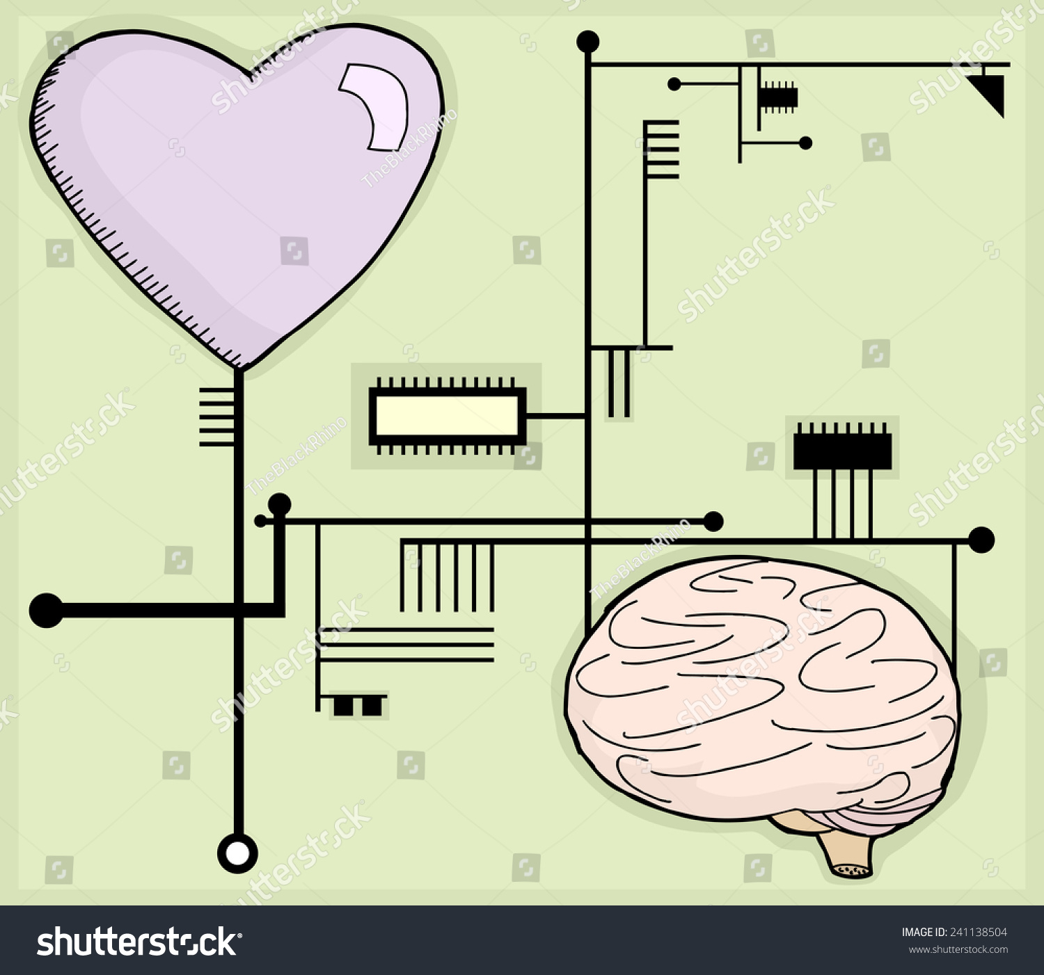 Schematic Circuit Cartoon Wiring Library Fuse Box Heart And Brain Connected To Computer Circuits