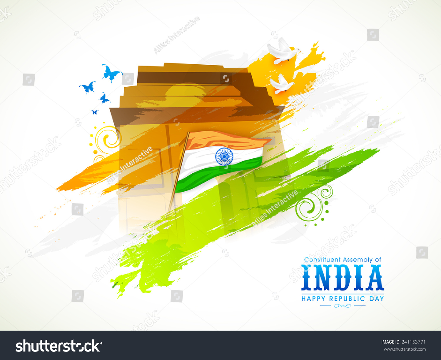 Indian Flag Butterflies: Indian National Flag India Gate Flying Stock Vector