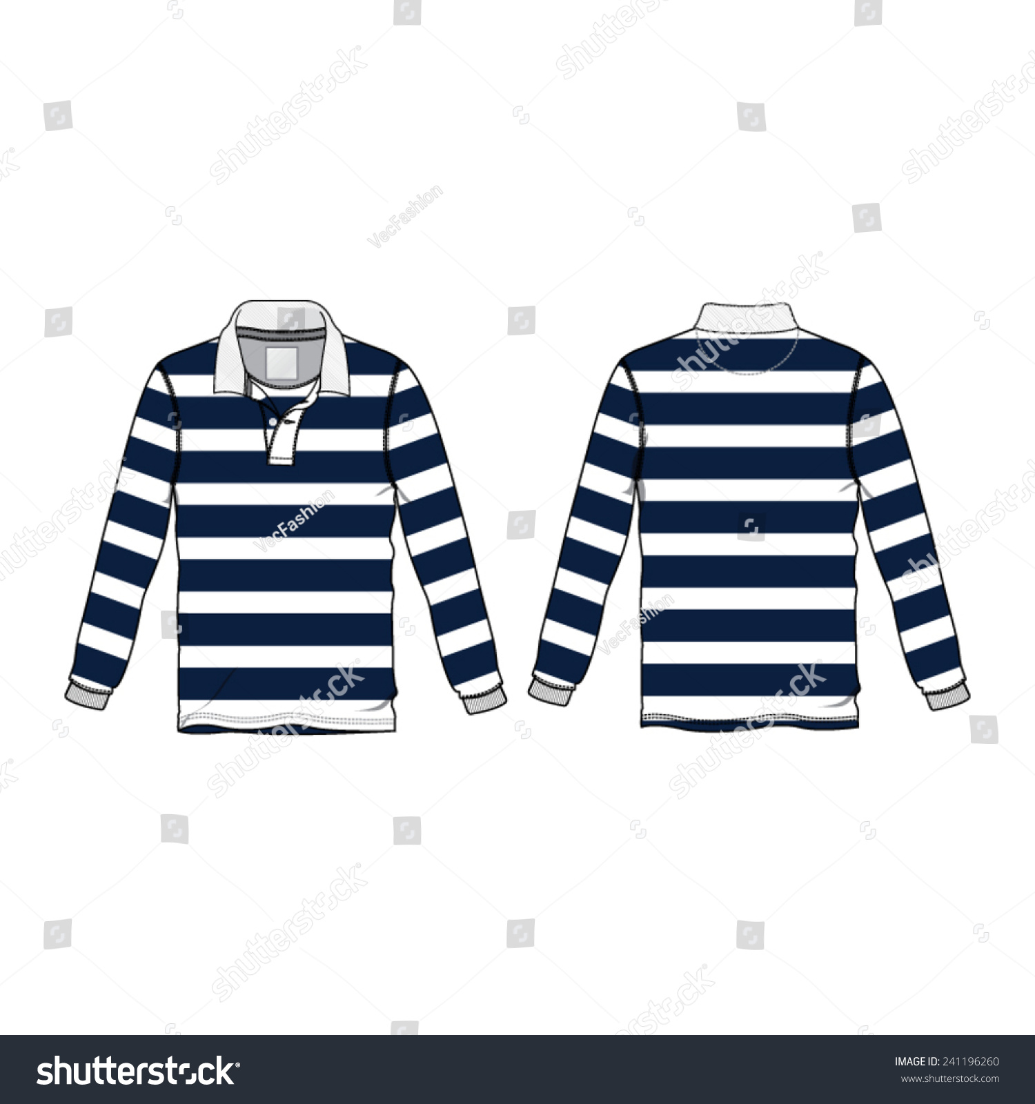 Rugby Collar Shirt Vector Template Stock Vector 241196260