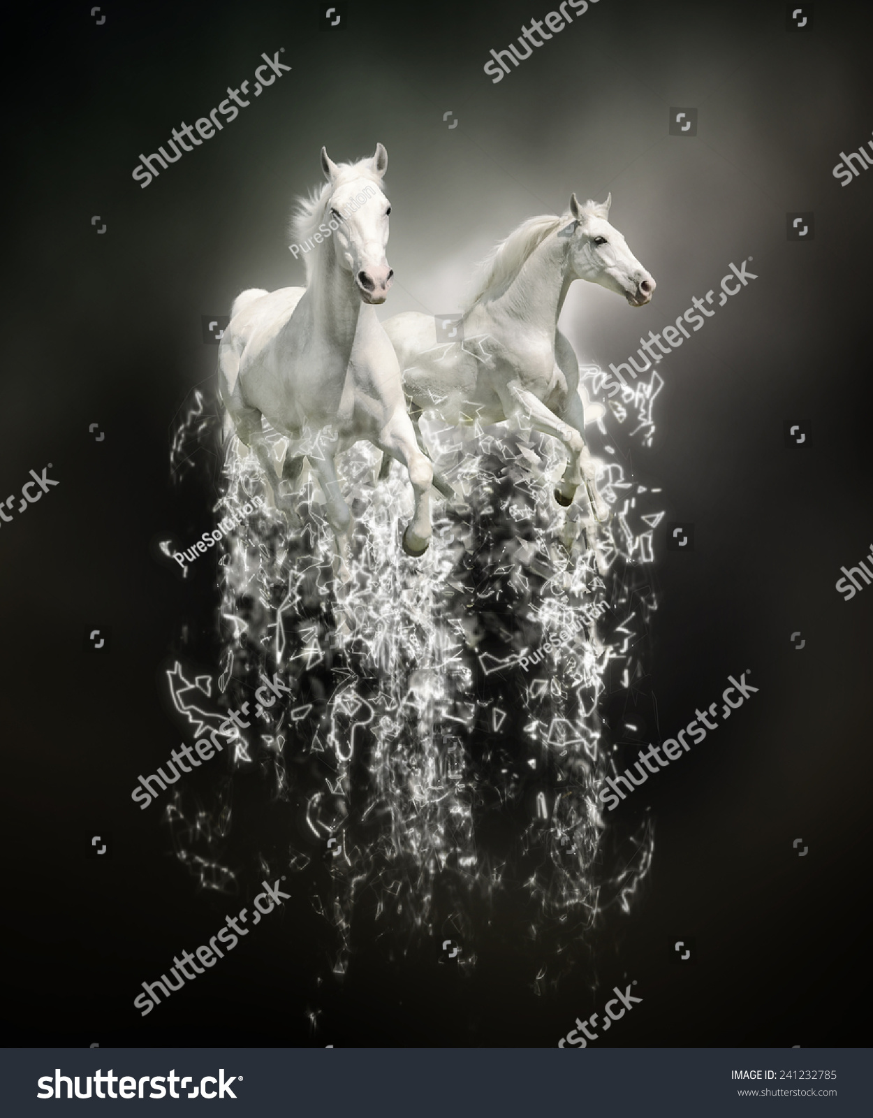 white horses abstract animal concept on stock illustration