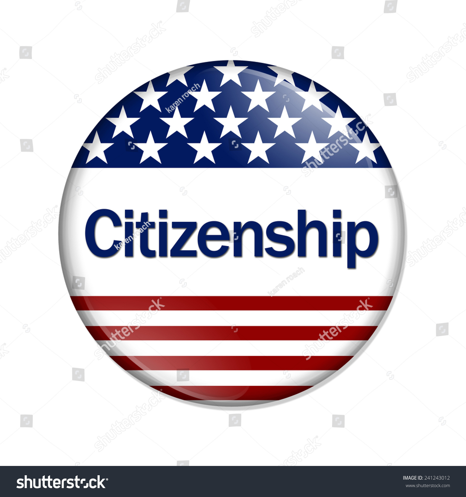 Citizenship: Citizenship Button , A White Button With Red Stripes And