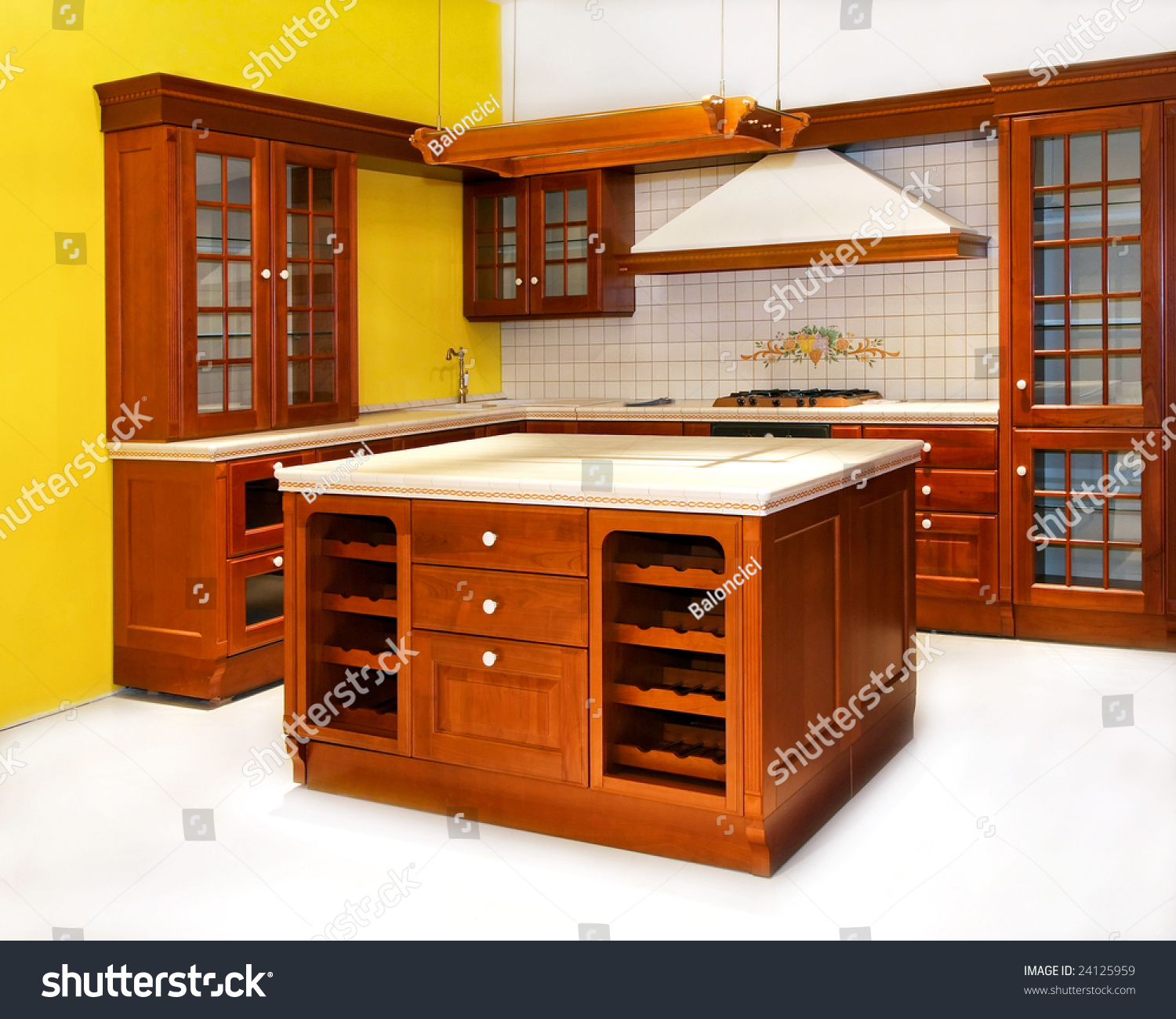Big wooden kitchen in american classic style stock photo for American classic style