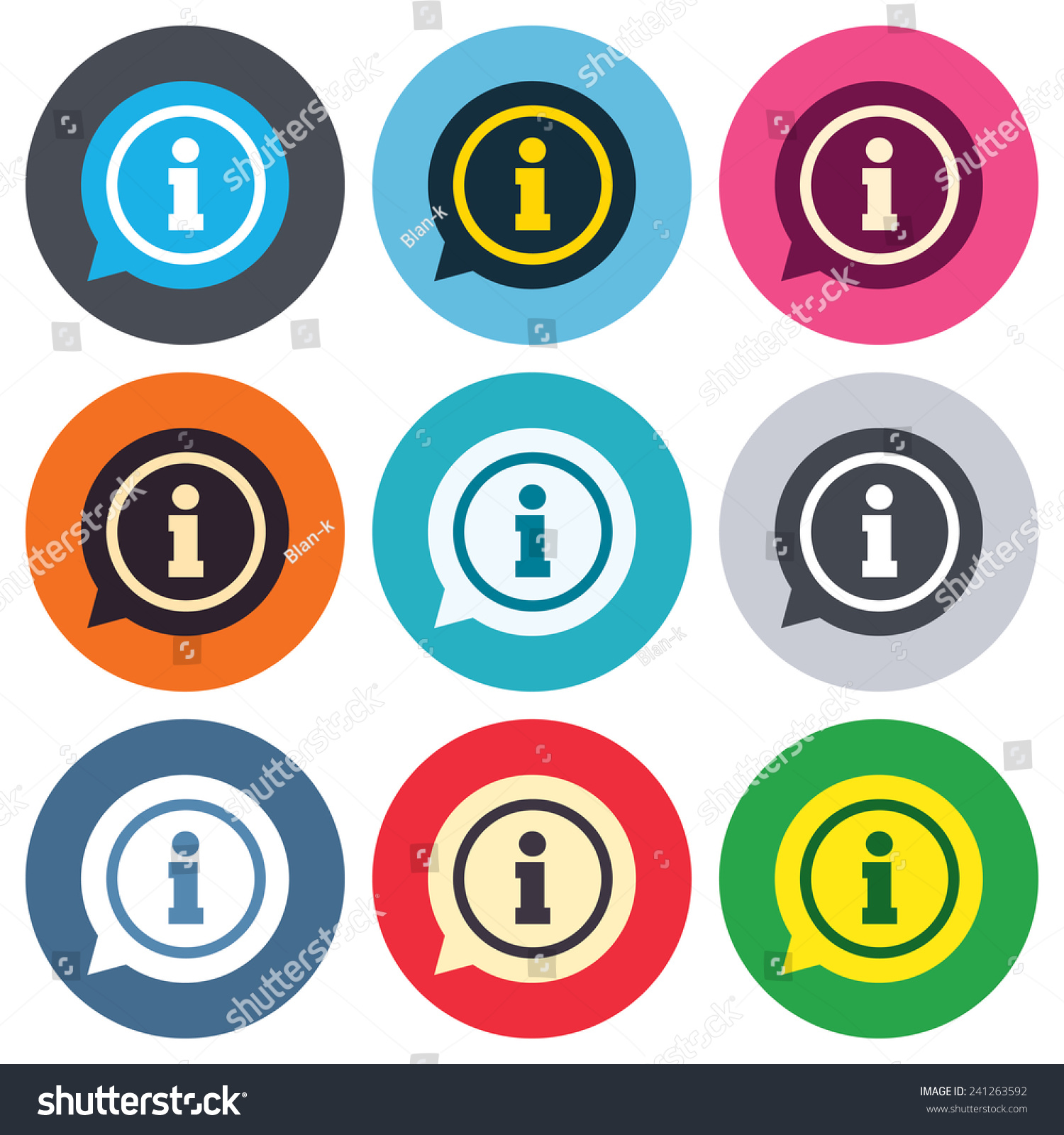 Information sign icon. Info speech bubble symbol. Colored round ...