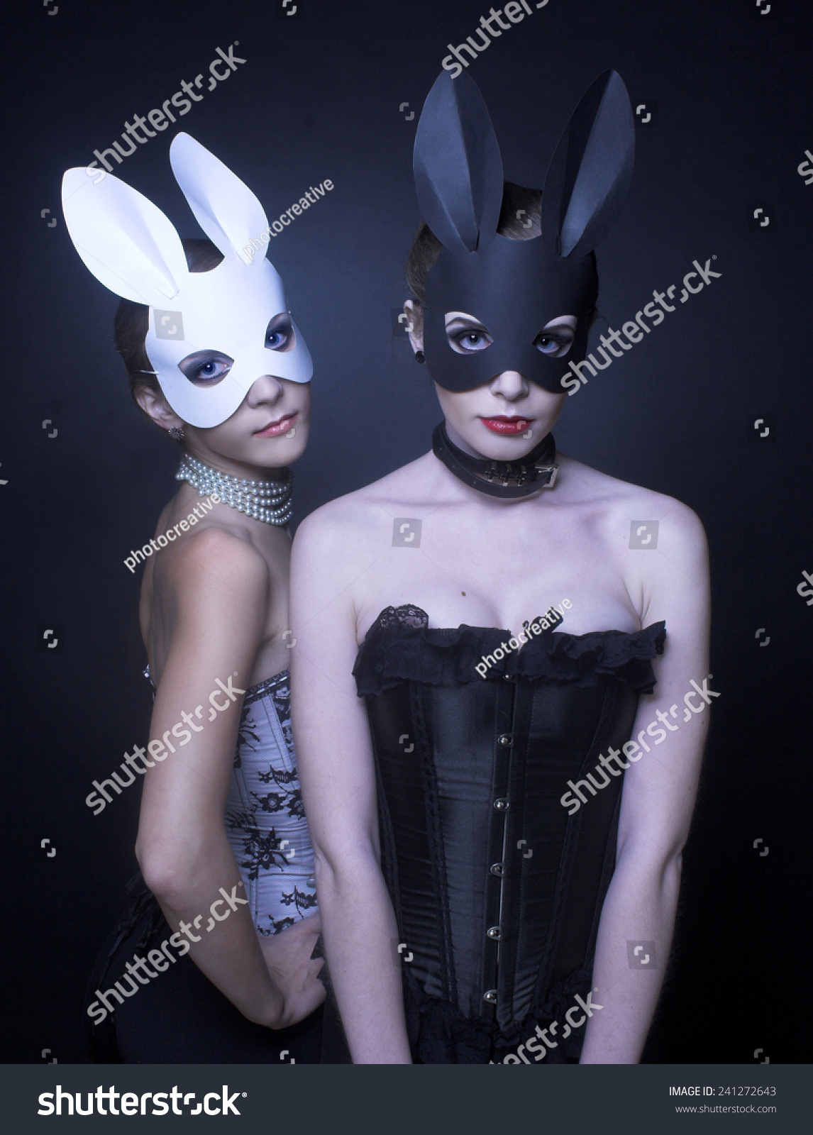 Black White Rabbits Two Young Women Stock Photo 241272643 ...